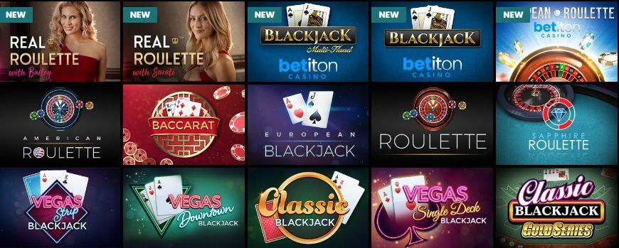 Betiton Casino Table Games